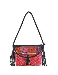 Traditioanl Indian Jaipuri Embroidery Handmade Shoulder Bag With Fringes Side Bag