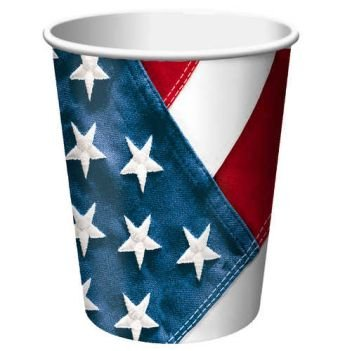 Creative Converting Red, White and True, Value Pack Hot or Cold Beverage Cups, 50 Count