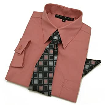 Boys Dress Shirt with Tie and Handkerchief #JL26 (12 Months, Hot Pink)