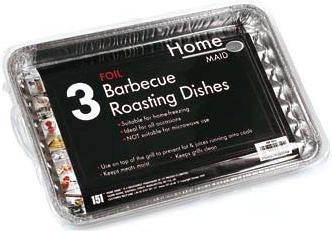 3 Foil Barbecue Roasting Dishes - 34cm x 23cm Approx