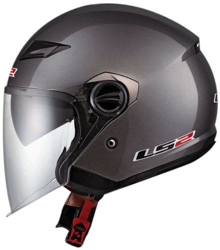 LS2 Helmets OF569 Open Face Motorcycle Helmet (Solid Gunmetal, X-Large)