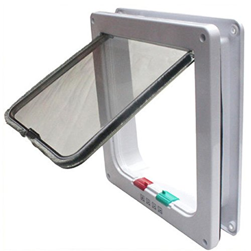 MAIKEHIGH Home 4-Way Locking Lockable Pet Cat Dog Flap Door White Large (Replacement Sliding Dog Door Flap compare prices)