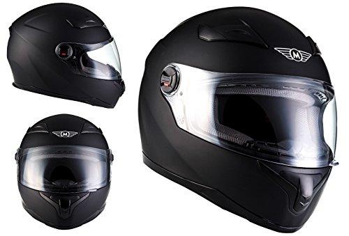 MOTO HELMETS X86 Matt Black Casco Integrale Cruiser Helmet Sport Urban Urbano MOTO HELMETS Scooter, ECE Certificato, Compresi Parasole, Compresi Sacchetto Portacasco, Nero Opaco, S (55-56cm)