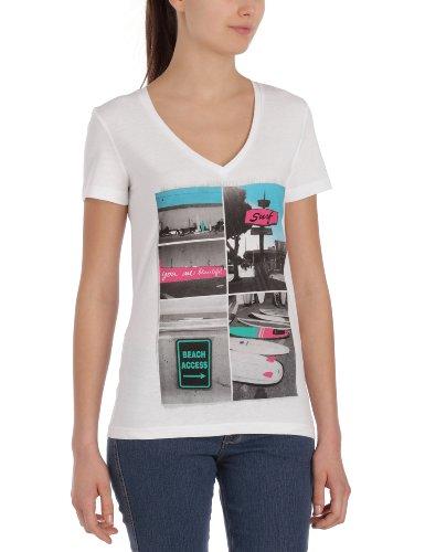 Oxbow Dawson - T-shirt a maniche corte, scollatura a V, photoprint, da donna, bianco (bianco), 1