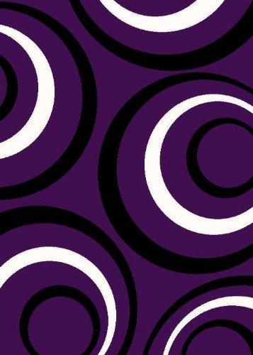 T1017 Purple Black White 5'2 x 7'2 Modern Contemporary Area Rug Carpet