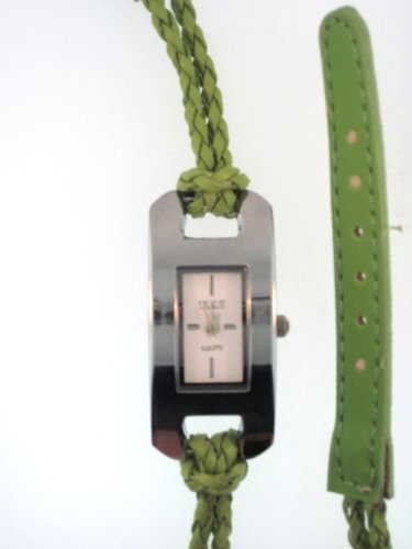 Apple Green Woven Leather Wrap Watch