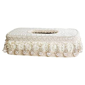 Decorative Tissue Box Cover with Lace and Tassels