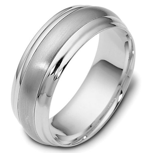 10K White Gold, Step Edged Domed 8MM Wedding Band (sz 6.5)