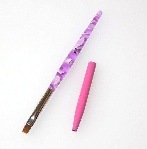 ピンクのキャップ付き ジェルブラシ ジェル筆#6初心者でも塗りやすい細め
