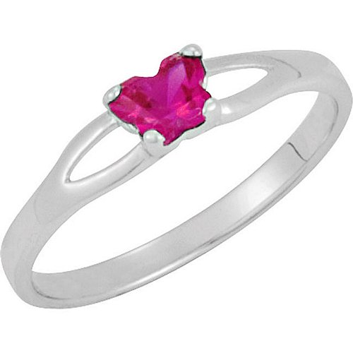 Sterling Silver July CZ Birthstone Youth Ring