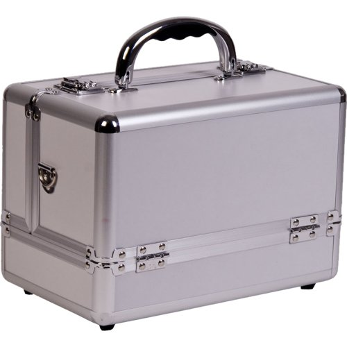 10.25 inch Contemporary Silver Aluminum Travel Organizer Makeup Artist Cosmetic Train Case