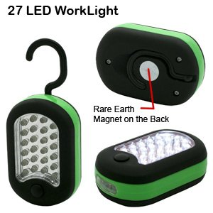 27 LED Super Bright - Deluxe Glow Work/Utility Light - Magnetic w/Hook(Green)