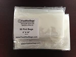 100 Bags! 50 Pint and 50 Quart FoodVacBags for Foodsaver and other Vacuum Sealer Machines by FoodVacBags