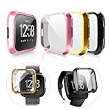 LAEPHO 3-Pack Screen Protector Case Cover for Fitbit Versa,Ultra Slim Soft TPU Bumper Protective Full Cover for Fitbit Versa Smart Watch(Gold+Black+Rose Gold) (Color: Gold+Black+Rose Gold)
