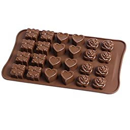 Smaier Silicone Rose Shape Cake Molds Candy Mold & Ice Cube DIY Baking Trays Heart Shaped Chocolate Jelly Pan 24-Cavity (Rose&Heart)