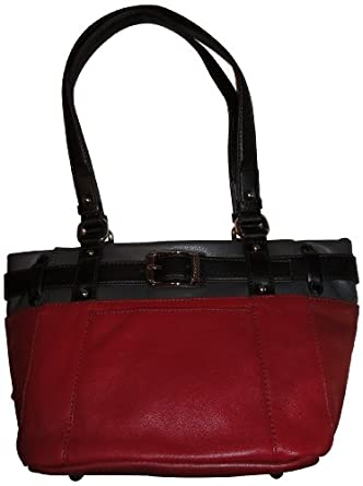 Women's Tignanello Purse Handbag Around the Block French Leather Tote Glam Red Multi