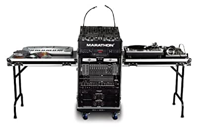 Marathon Flight Road Case MA14M16UWT2 14u Slant Mixer Rack/16u Vertical Rack System with Caster Board and Table