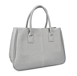 Hoxis Classical Office Lady Minimalist Pebbled Faux Leather Handbag Tote/ Magnetic Snap Purse(Gray)
