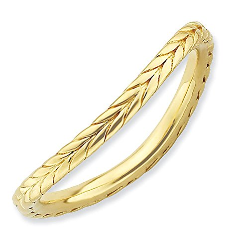 Yellow-Gold-Plated-Sterling-Silver-15mm-Laurel-Wreath-Design-Curved-Fashion-Anniversary-Ring-Band