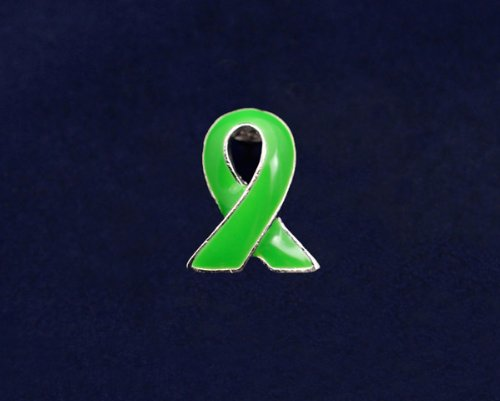 Green Ribbon Pin - Silver Trim Tac (50 Pins)