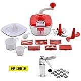 Floraware 14-Piece Manual Food Processor & 14-Piece Kitchen Press Combo, Red