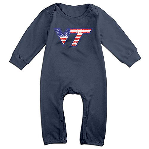 LCYCAD Newborn Babys Boy's & Girl's Virginia Tech University VT Logo Long Sleeve Bodysuit Outfits For 6-24 Months Navy Size 18 Months