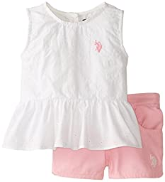 U.S. Polo Assn. Toddler Girls\' Eyelet Peplum Top and Twill Shorts, White, 2T