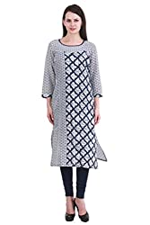kanah shri 3/4th long Kurti With Round Neck Fabric Cotton with White Colour For Women