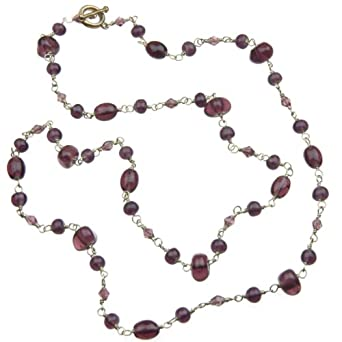 "36"" Purple Glass Bead Hand Wrapped Wire Necklace with a Toggle Clasp"
