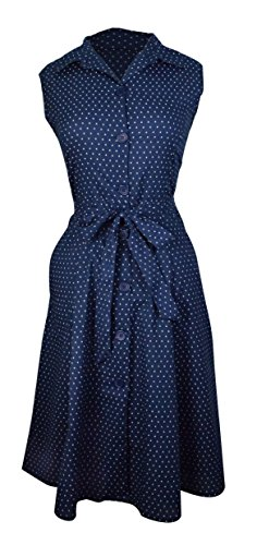 Peach Couture Vintage Inspired Pattern Button Up Shift Dress with Fabric Belt Tie 100% Cotton (S, Nautical Navy)