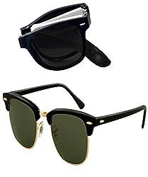 Shara UV Protected Foldable wayfarer and Club master unisex sunglasses set of 2 combo pack ( Black & Green lens)(SHA/SUNGLASSES/FOLDWCLUBGREE)