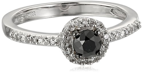 14k White Gold Black Diamond Ring (1/3 cttw), Size 6