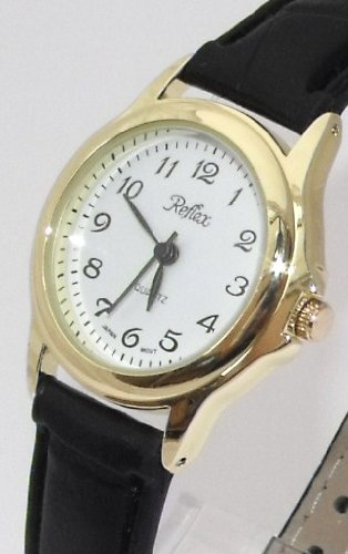 Ladies/Womens New Reflex Watch-Gold Case (25mm) White Dial - 18cm Strap (101027LT)
