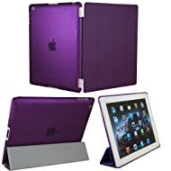 KHOMO DUAL CASE Purple Cover FRONT + Purple Crystal Rubberized Back Protector For Apple IPad 2 IPad 3 & IPad 4...