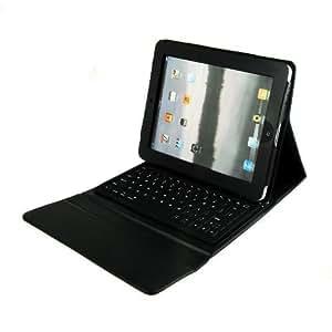 Hochwertige Schutztasche/Schutzhülle für Apple iPad mit integrierter Silikon Bluetooth Tastatur in schwarz