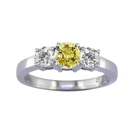 1/2 CT 3 Stone Yellow & White Diamond Ring 14K White Gold (Available In Sizes J - T)