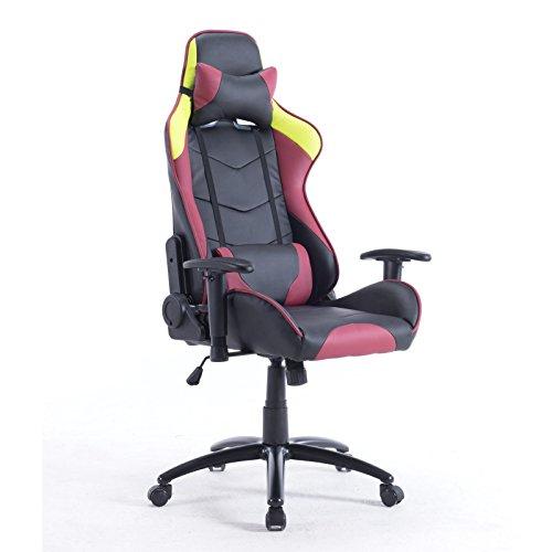 Brostuhl-Schreibtischstuhl-Chefsessel-aus-Kunstleder-Schalensitz-Gamer-Chair-schwarz-rot-gelb