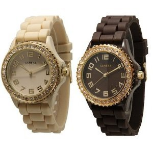 TWO Beige & Brown w/ Gold Silicone Watch with CZ Crystal Rhinestones Face Bling Bezel