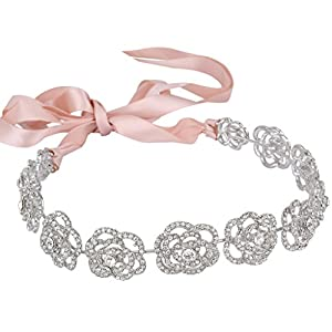 Ever Faith Silver-Tone Austrian Crystal Bridal Hollow-Out Rose Flower Ribbon Hair Band Clear N05936-1