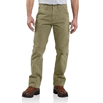 Carhartt Men's Washed Twill Relaxed Fit Dungaree Pant B324, Dark khaki, 30x30
