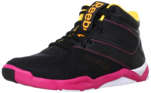 Reebok Womens STUDIO STEP AGAIN High Top Black Schwarz (BLACK/PINK/ORANGE/WH) Size: 39
