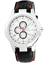 Orlando Casual Chronograph Look Analogue White Dial Black Leather Belt Mens Watch - W1284BSW