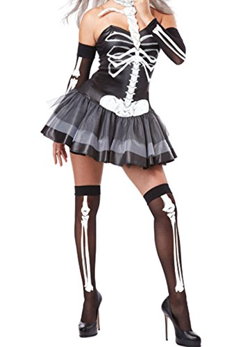 [GERGER BO 3pcs Sexy Skeleton Halloween Masquerade Costume(Size,S)] (Broomstick Babe Halloween Costume)