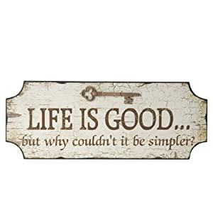 Wilco Imports Distressed Wood Sign Life Is Good But Why