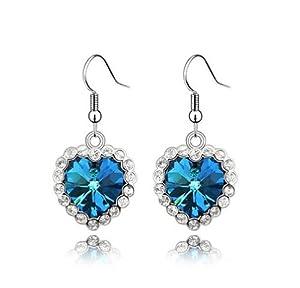 niceeshop(TM) 1 Pair Titanic Elements Crystal Love Heart Of The Ocean Earrings For Woman