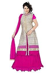 Priyanshu Creation Women's Net Pink Indo Western Dress Material