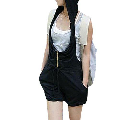 Allegra K Lady Zipper Front Halter Neck Jumpsuit Shorts Black XS