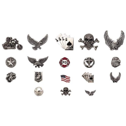 Diamond Plate 18Pc Assorted Motorcycle Pin Set