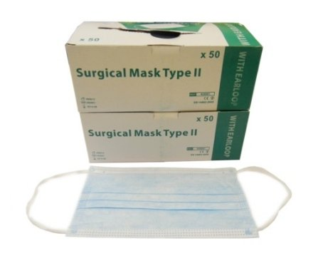 Pack of 100 Surgical Face Masks With Earloop 3 Ply (CE Marked & European Stan...