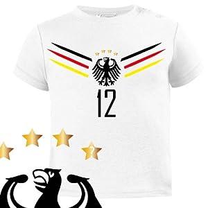 Comedy Shirts - WM 2014 | FAN-SHIRT 1 - Baby T-Shirt - Weiss / Schwarz-Rot-Gelb Gr. 56-62